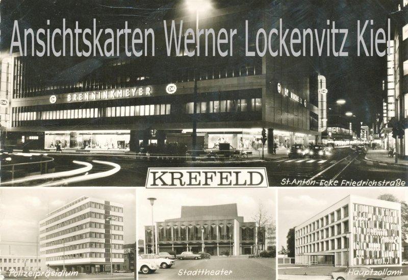Ansichtskarte Krefeld St. Anton-Ecke Friedrichstraße Brenninkmeyer Nachtaufnahme Hauptzollamt Polizeipräsidium