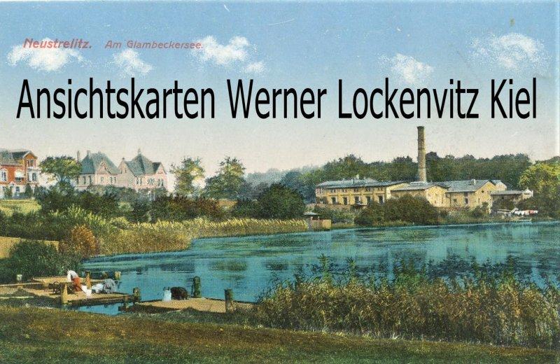 Ansichtskarte Neustrelitz Am Glambeckersee Blick auf die Konservenfabrik Frauen waschen Wäsche