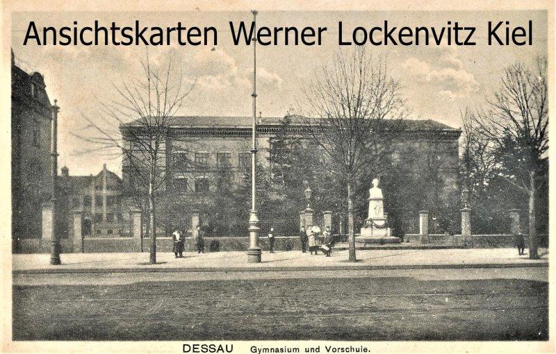 Ansichtskarte Dessau Gymnasium und Vorschule