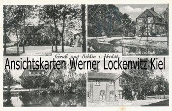 Ansichtskarte Ahrensbök-Siblin Schule Geschäft von R. Köhn Hof Dorfteich