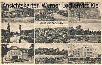 Ansichtskarte Gütersloh Bahnhof Ev. Krankenhaus Parkbad Gymnasium