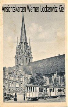 Ansichtskarte Flensburg Nikolaikirche mit Straßenbahn