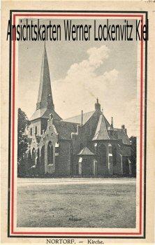 Ansichtskarte Kirche in Nortorf patriotisch