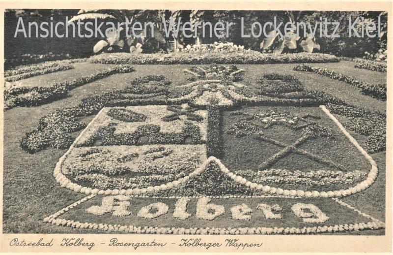 Ansichtskarte Polen Kolberg Kolobrzeg Rosengarten Kolberger Wappen