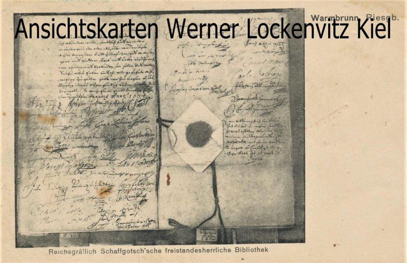 Ansichtskarte Polen Hirschberg-Bad Warmbrunn Jelenia Góra-Cieplice Śląskie-Zdrój Schaffgotsche Bibliothek