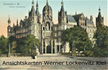 Ansichtskarte Schwerin Schloss Stadtseite golden windows