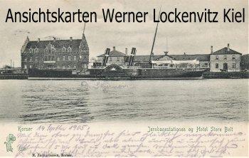 Ansichtskarte Dänemark Danmark Korsoer Korsør Jernbanestation og Hotel Store Belt