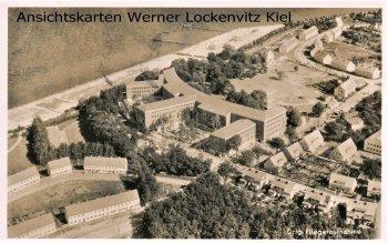 Ansichtskarte Stralsund Ortsansicht Marine Lazarett Luftbild