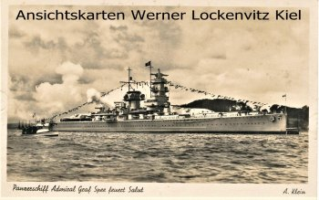 Postcard Germany Admiral Graf Spee fires salute