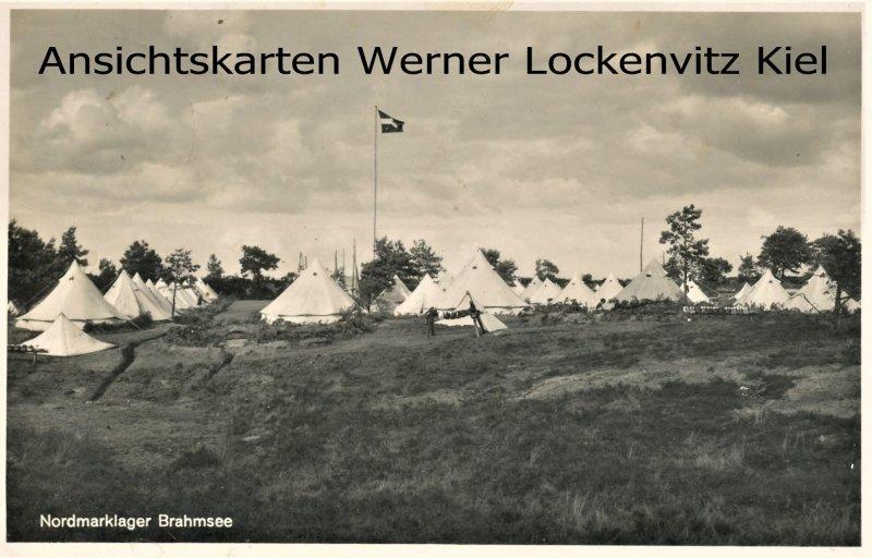 Ansichtskarte Brahmsee bei Nortorf H.J.- Nordmarklager mit Landpoststempel