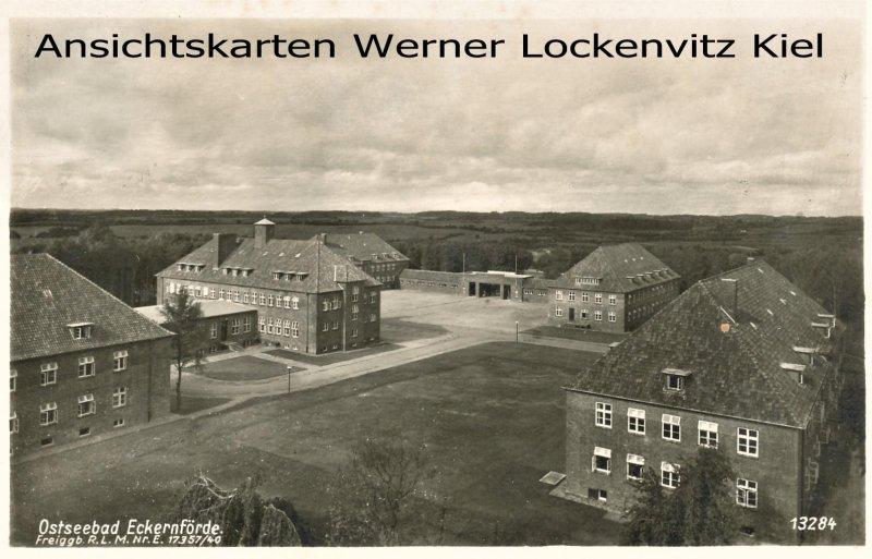 Ansichtskarte Eckernförde Kaserne Luftbild